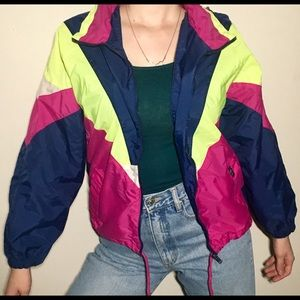 Other - Vintage Neon 🥎 Colour-block Zip-up Sports Jacket